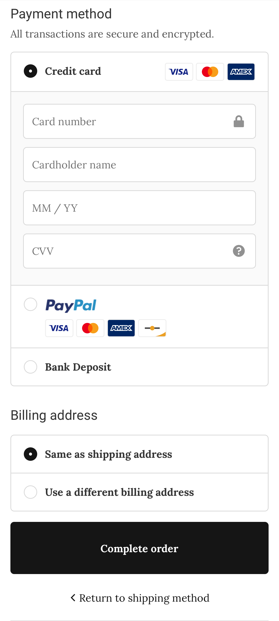 WOLF&RITA カード情報を入力